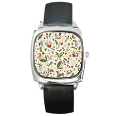 Floral Christmas Pattern  Square Metal Watch by Valentinaart