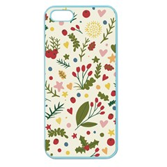 Floral Christmas Pattern  Apple Seamless Iphone 5 Case (color) by Valentinaart