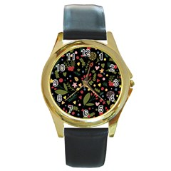 Floral Christmas Pattern  Round Gold Metal Watch by Valentinaart