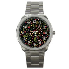 Floral Christmas Pattern  Sport Metal Watch