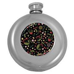 Floral Christmas Pattern  Round Hip Flask (5 Oz) by Valentinaart