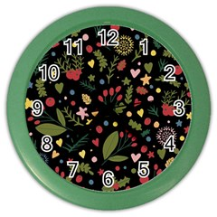 Floral Christmas Pattern  Color Wall Clock by Valentinaart