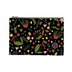 Floral Christmas Pattern  Cosmetic Bag (large) by Valentinaart