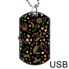 Floral Christmas Pattern  Dog Tag Usb Flash (one Side) by Valentinaart