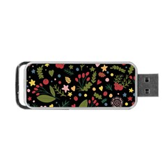Floral Christmas Pattern  Portable Usb Flash (one Side) by Valentinaart