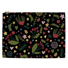 Floral Christmas Pattern  Cosmetic Bag (xxl) by Valentinaart