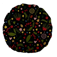 Floral Christmas Pattern  Large 18  Premium Flano Round Cushions by Valentinaart