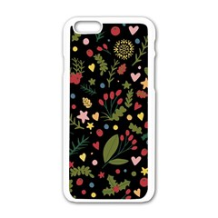 Floral Christmas Pattern  Apple Iphone 6/6s White Enamel Case by Valentinaart