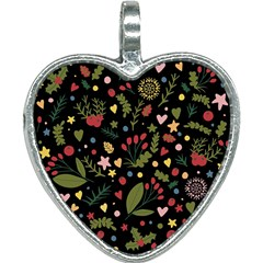 Floral Christmas Pattern  Heart Necklace by Valentinaart