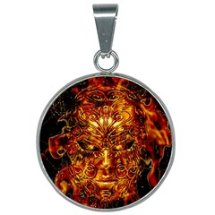 Vulcano Poster Artwork 25mm Round Necklace by dflcprintsclothing