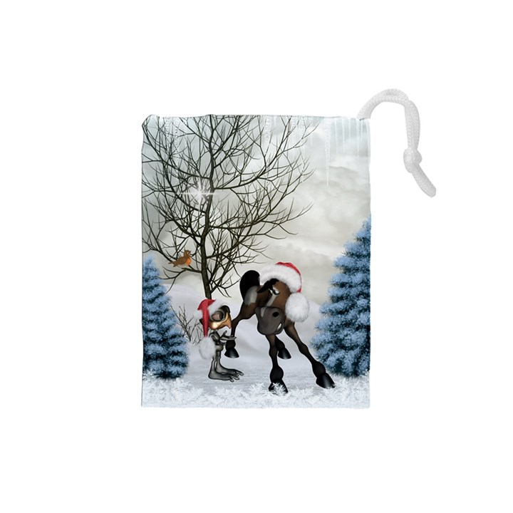 Christmas, Cute Bird With Horse Drawstring Pouch (Small)
