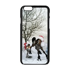 Christmas, Cute Bird With Horse Apple Iphone 6/6s Black Enamel Case by FantasyWorld7