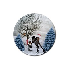 Christmas, Cute Bird With Horse Rubber Coaster (round)  by FantasyWorld7