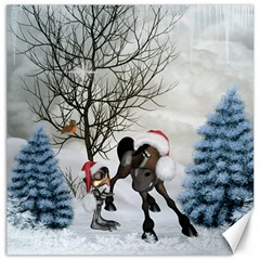 Christmas, Cute Bird With Horse Canvas 20  X 20  by FantasyWorld7