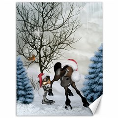 Christmas, Cute Bird With Horse Canvas 36  X 48  by FantasyWorld7