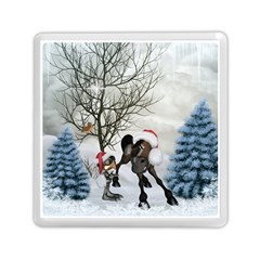 Christmas, Cute Bird With Horse Memory Card Reader (square) by FantasyWorld7