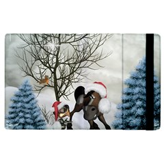 Christmas, Cute Bird With Horse Apple Ipad 3/4 Flip Case by FantasyWorld7