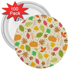Thanksgiving Pattern 3  Buttons (100 Pack)  by Valentinaart