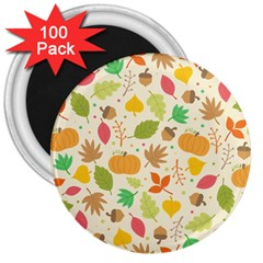 Thanksgiving Pattern 3  Magnets (100 Pack) by Valentinaart