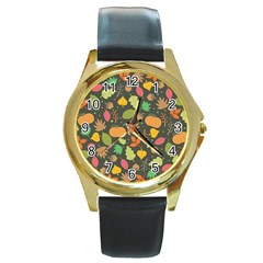 Thanksgiving Pattern Round Gold Metal Watch by Valentinaart