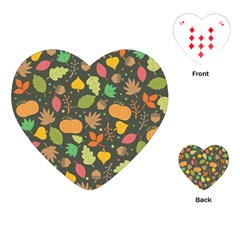 Thanksgiving Pattern Playing Cards (heart) by Valentinaart