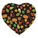 Thanksgiving pattern Heart Ornament (Two Sides) Front