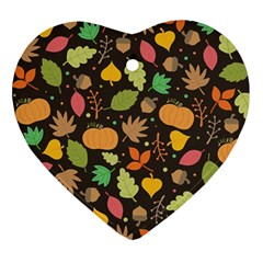 Thanksgiving Pattern Heart Ornament (two Sides) by Valentinaart