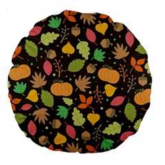 Thanksgiving Pattern Large 18  Premium Round Cushions by Valentinaart
