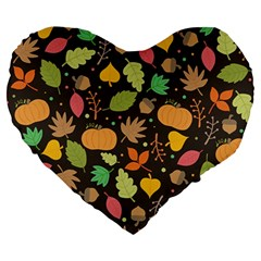 Thanksgiving Pattern Large 19  Premium Heart Shape Cushions by Valentinaart