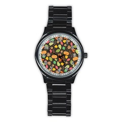 Thanksgiving Pattern Stainless Steel Round Watch by Valentinaart