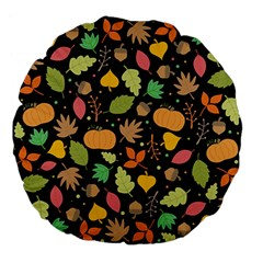Thanksgiving Pattern Large 18  Premium Flano Round Cushions by Valentinaart