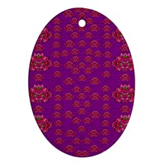 Seasonal Delight With Fantasy Flowers Ornament (oval)