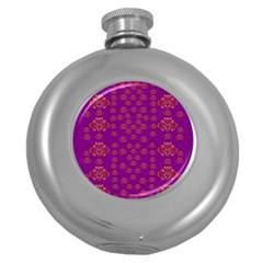Seasonal Delight With Fantasy Flowers Round Hip Flask (5 Oz)