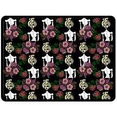 Victorian Girl Black Double Sided Fleece Blanket (large)  by snowwhitegirl