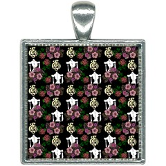 Victorian Girl Black Square Necklace
