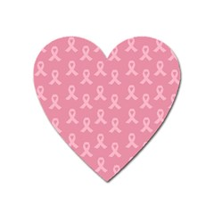 Pink Ribbon - Breast Cancer Awareness Month Heart Magnet by Valentinaart