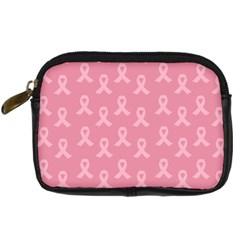 Pink Ribbon   Breast Cancer Awareness Month Digital Camera Leather Case by Valentinaart
