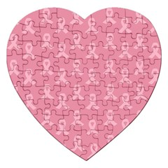 Pink Ribbon   Breast Cancer Awareness Month Jigsaw Puzzle (heart) by Valentinaart