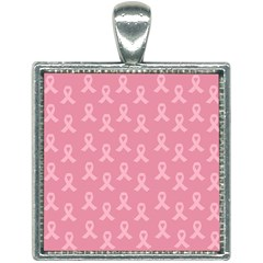 Pink Ribbon - Breast Cancer Awareness Month Square Necklace by Valentinaart