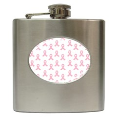 Pink Ribbon - Breast Cancer Awareness Month Hip Flask (6 Oz) by Valentinaart