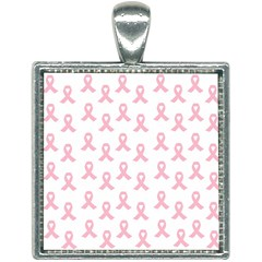 Pink Ribbon   Breast Cancer Awareness Month Square Necklace by Valentinaart
