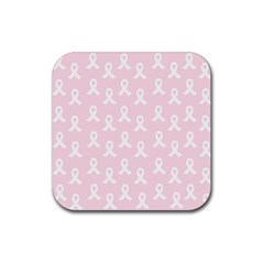 Pink Ribbon   Breast Cancer Awareness Month Rubber Coaster (square)  by Valentinaart