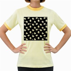 Cute Kawaii Ghost Pattern Women s Fitted Ringer T Shirt