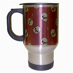 Cute Kawaii Ghost Pattern Travel Mug (silver Gray) by Valentinaart