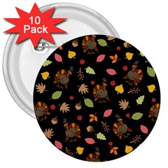 Thanksgiving Turkey Pattern 3  Buttons (10 Pack)