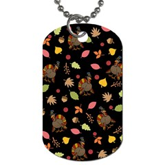 Thanksgiving Turkey Pattern Dog Tag (two Sides) by Valentinaart