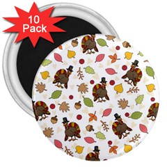Thanksgiving Turkey Pattern 3  Magnets (10 Pack)  by Valentinaart