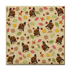 Thanksgiving Turkey Pattern Tile Coasters by Valentinaart