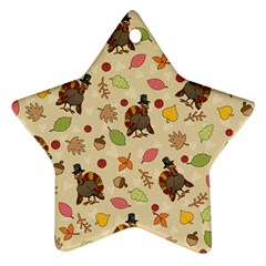 Thanksgiving Turkey Pattern Star Ornament (two Sides) by Valentinaart