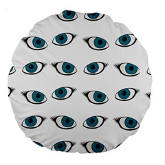 Blue Eyes Pattern Large 18  Premium Round Cushions by Valentinaart